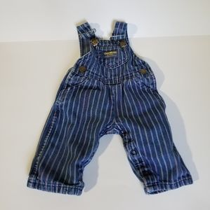 Oshkosh Striped Jean Overalls 3-6 Months